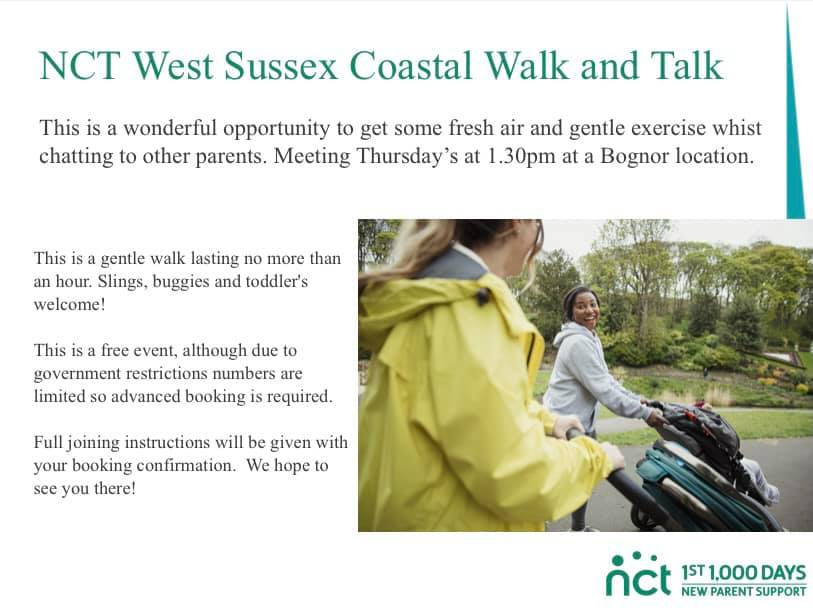 This is a wonderful opportunity to get some gentle exercise while chatting to other parents. Meeting Thursdays at 1.30 p.m. at a Bognor location.