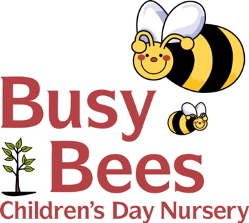 Logo for Busy Bees Children's Day Nursery featuring a Bee
