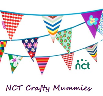 NCT Logo, Strings of colourful bunting, text NCT Crafty Mummies