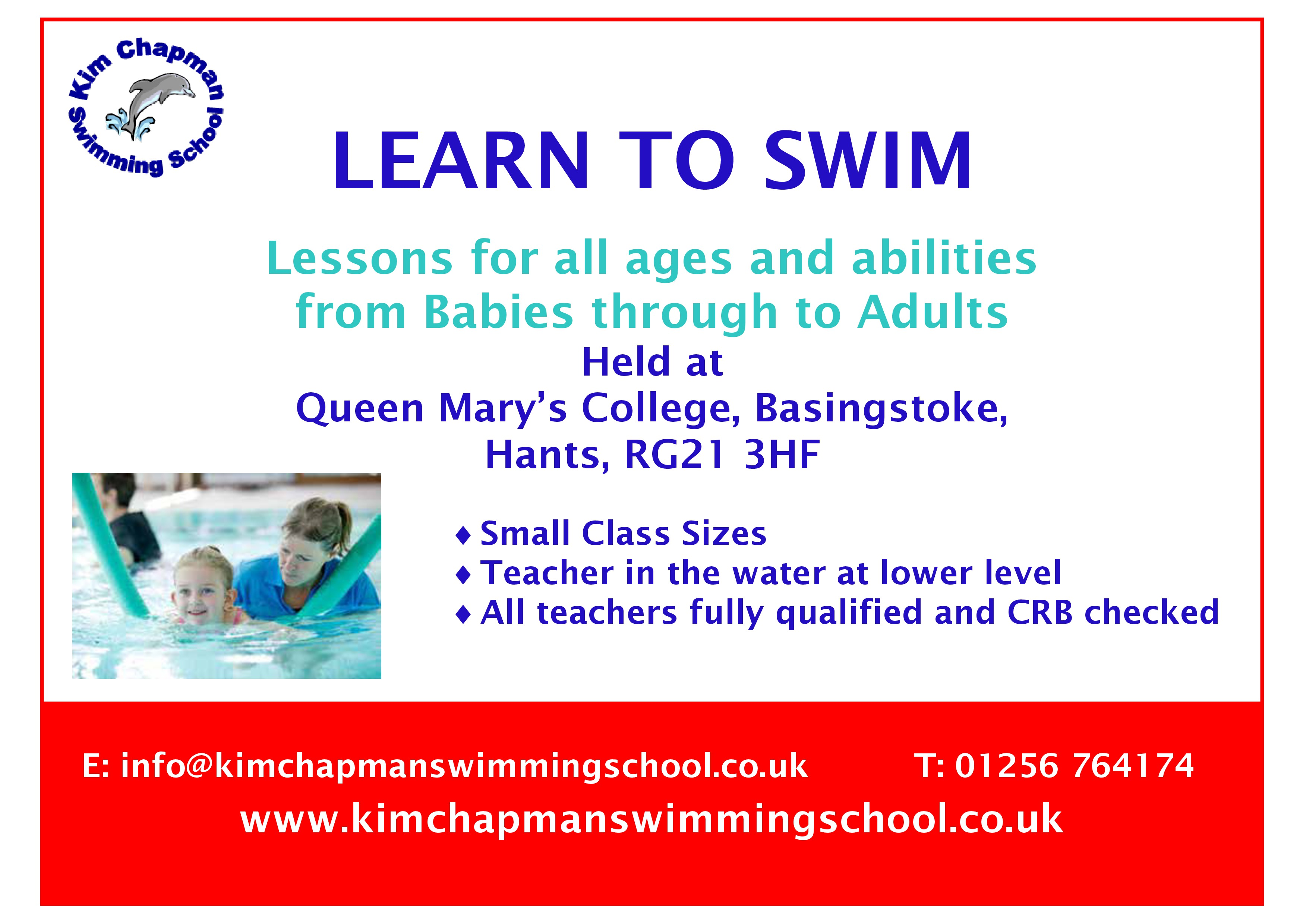 Kim Chapman Swimming School advert