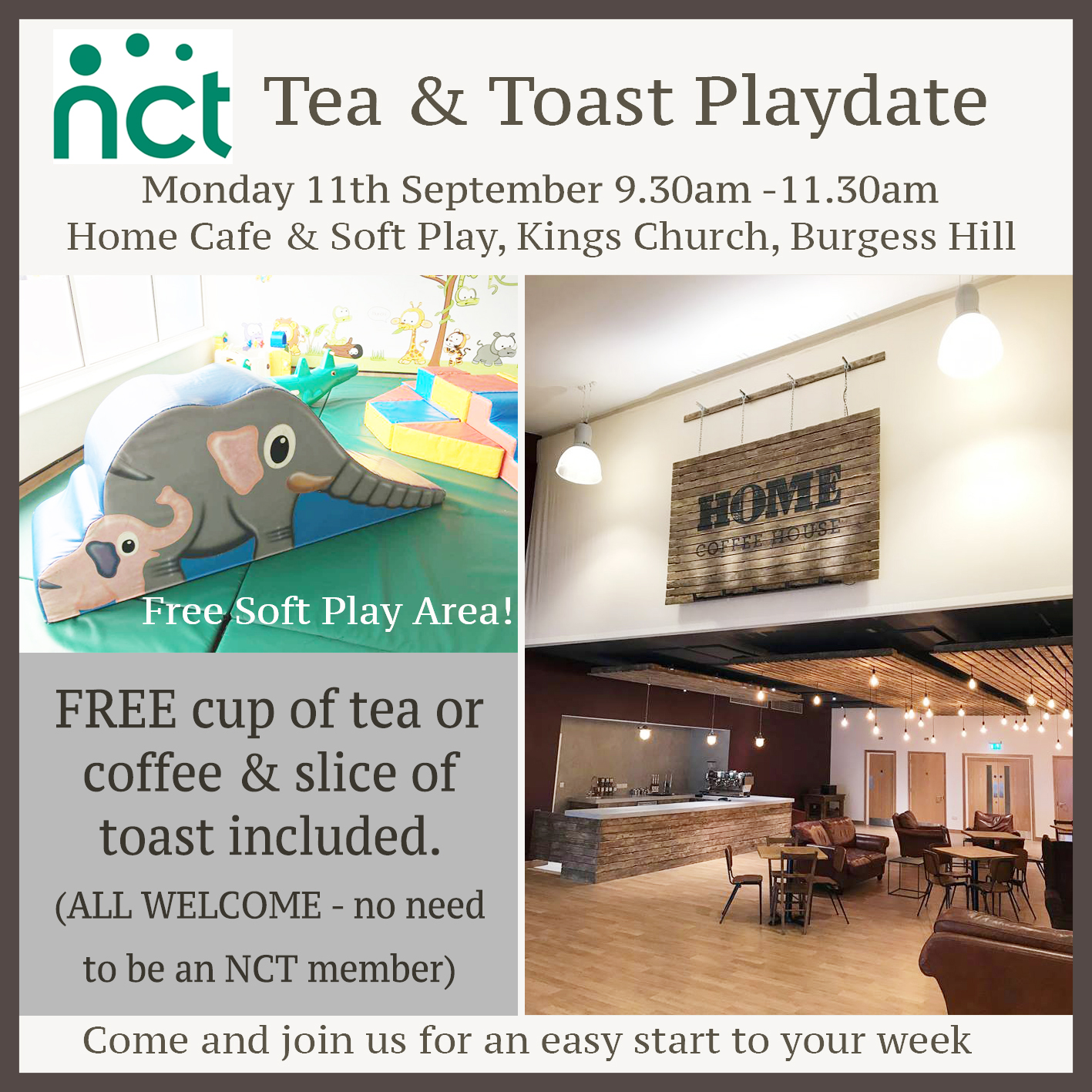 Flyer for the tea and toast playdate