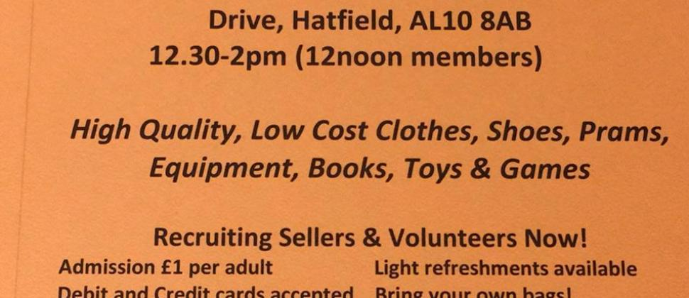 Bag a Bargain Saturday 12th October 2019 Onslow St. Audrey's School, Old Rectory Drive, Hatfield, AL10 8AB           12.30-2pm (12noon members)   High Quality, Low Cost Clothes, Shoes, Prams, Equipment, Books, Toys & Games   Recruiting Sellers & Volunteers Now! Admission £1 per adult                    Light refreshments available                 Debit and Credit cards accepted    Bring your own bags! Buggy Park    ​​​     Lots of parking available Email: nns.welhat@nct.org.uk     Facebook: @nctwelhat