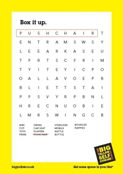 Big Yellow Storage Wordsearch